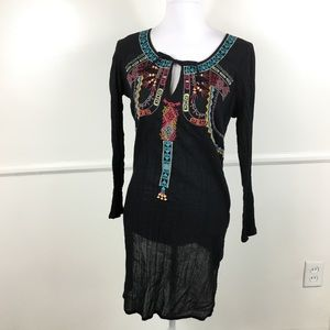 Old Navy Black Embroidered Tunic Womens Small